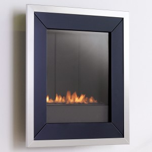 Wall mounted flueless gas fire-eko5020-Black with silver trim