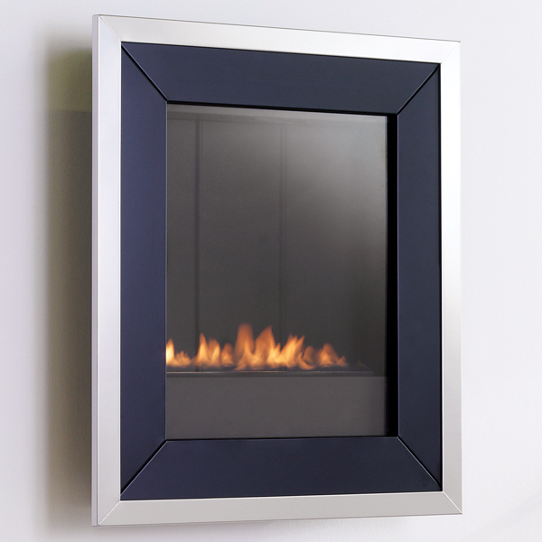 Wall Mounted Flueless Gas Fire Eko5020 Black With Silver Trim
